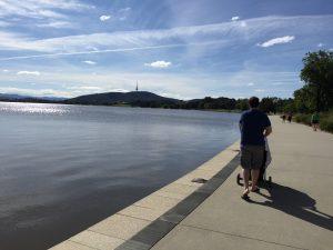 Walking around Lake Burley Griffin.