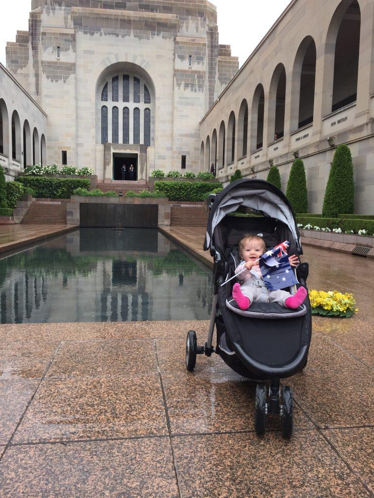 Despite the rain, Lizzy was feeling patriotic. It actually was a very impressive memorial.