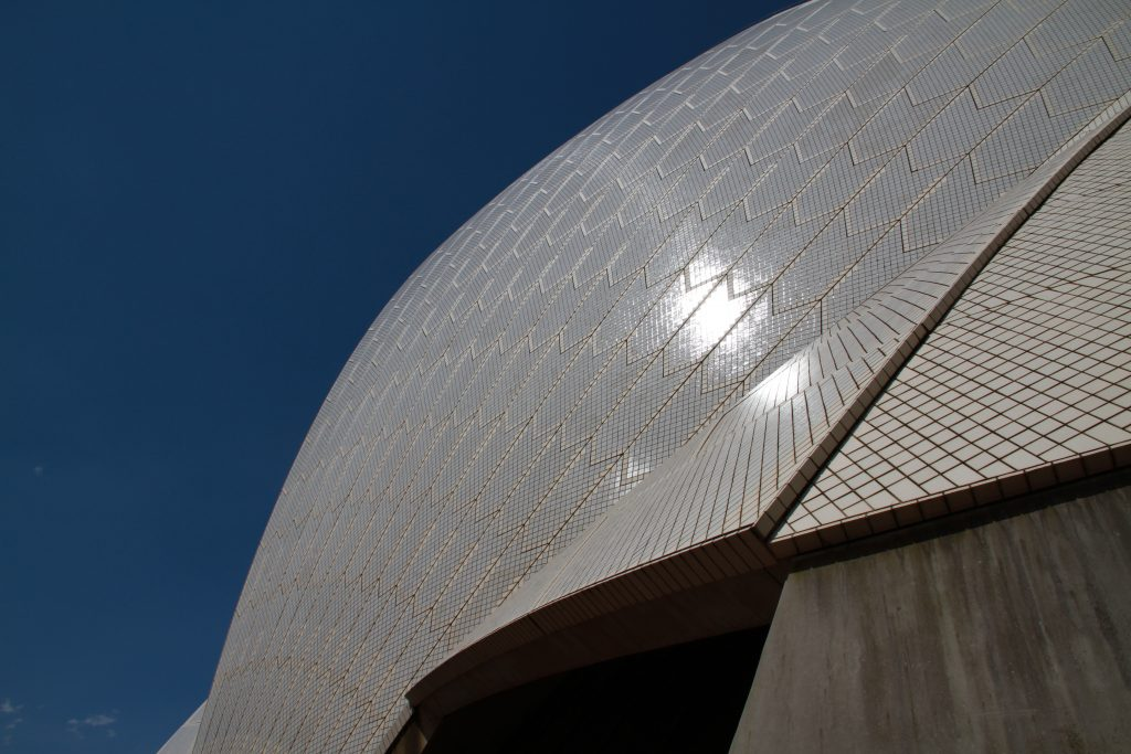 Here is an up close look at The Sydney Tile that covers the exterior of the Opera House. The architect said he wanted the tile to contrast the deep blue of Sydney Harbour and the clear blue Australian sky. There are 1,056,006 tiles covering the exterior of the Sydney Opera House.