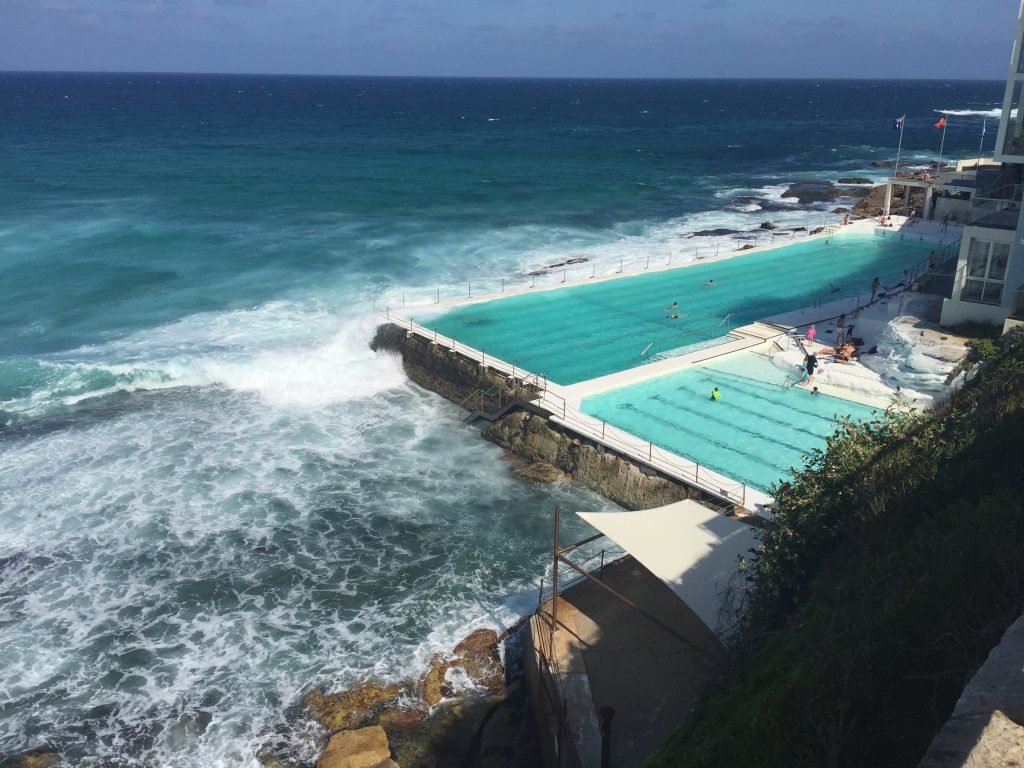 Check out the Bondi Iceberg's Ocean Pool! Filled with ocean water, this pool is open to the public for a refreshing dip. The large pool is for lap swimming and the smaller pool is for children.