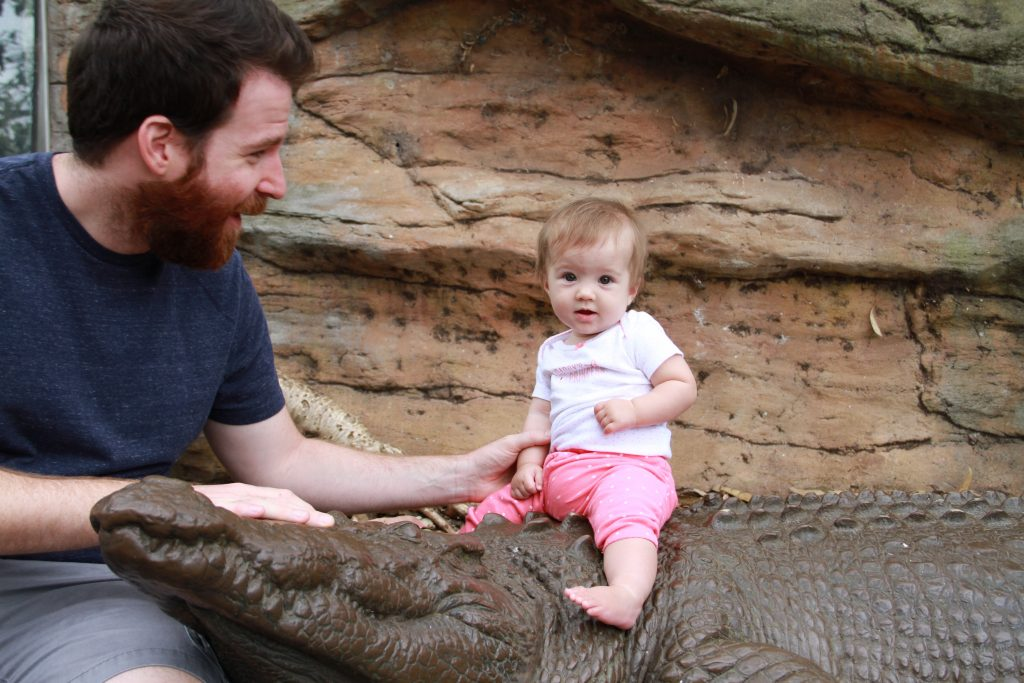 Only 6 weeks in Australia and she is already riding crocodiles!