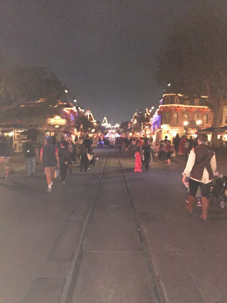 Walking out down Main Street. Disneyland Halloween Party